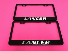 2x LANCER - BLACK Powder Coated Metal License Plate Frame w/Screw caps*