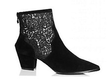 BEBO Black Lace Sides Faux Suede Ankle Boots UK 3 EU 4 LG07 39