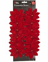 12 Red Felt Christmas Tree Poinsettia Glitter Bows Decorations Gift Craft Party