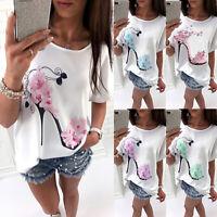 Womens Summer Short Sleeve T-Shirt Tops Casual Beach Loose Fit Blouse Tee Shirts