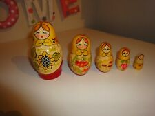 "WOODEN Vintage Carved & Lacquered ""MATRYOSHKA"" Original RUSSIAN DOLL Set KITSCH!"