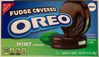 NEW NABISCO FUDGE COVERED OREO MINT CREME CHOCOLATE SANDWICH COOKIES 9.9 OZ BOX