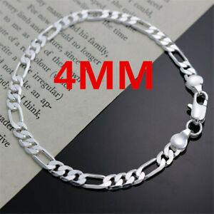 Fashion 925 Silver Flat 4MM Chain Women Men Gift Bracelets Charm Jewelry