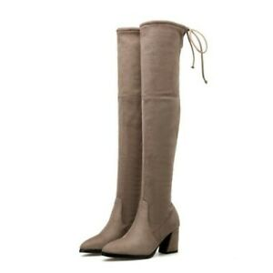 Women Thigh High Boot Faux Fur Lined Suede Mid Block Heel Stretch Formal Shoes D