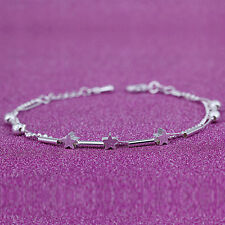 NEW Women 925 Sterling Silver Chain Tube Star Beads Bracelet Bangle Cuff Beauty