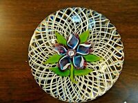 1973 Perthshire Glass Lampwork CLEMATIS on Basket Paperweight LTD ED of 300