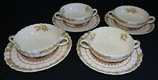 Spode Copeland England Buttercup Set of 4 Cream Soups & Saucers- Old Mark Nice!