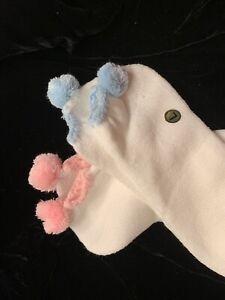 2 Pr. Women's Vtg POM POM Socks Baby BLUE & PINK Acrylic Super Soft! Sz Lg