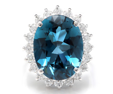 12.05 Carats Natural London Blue Topaz and Diamond 14K Solid White Gold Ring