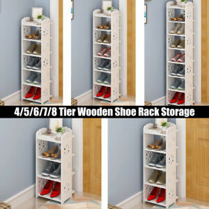 4/5/6/7/8 Tier Shoe Rack Storage Shelf Unit Cabinet Holder Organiser PVC White