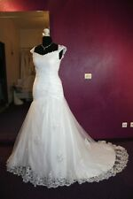 Brautkleid Hochzeitskleid A-Linie Mermaid 36 38 Tüll Spitze weiss NP 1025 Träger