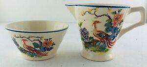 Rare Hollinshead & Kirkham H&K Tunstall Firebird Mini Creamer & Open Sugar Bowl