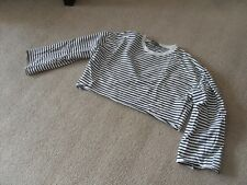 Primark black and white striped loose fitting short top - size 12