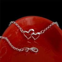 """Love Heart Double Heart Foot Chain 9"""" Anklets For Women's 14k White Gold Over"""