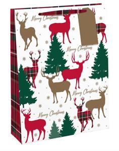 Stag Tartan Extra Large Christmas Gift Bag