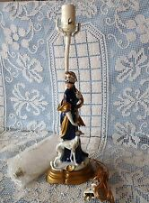 FIGURAL Cobalt Blue & Gold WOMAN WALKING a WHIPPET DOG Figurine TABLE LAMP BASE