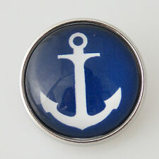 SNAP IN BUTTON CHARM FITS GINGER SNAPS STYLE JEWELRY BLUE ANCHOR #64 SHIP PHOTO