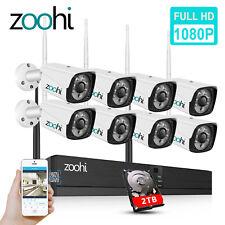 Cámara De Vigilancia zoohi 2MP 8CH Sistema Inalámbrico Al Aire Libre 1080P NVR de la noche ir 2TB