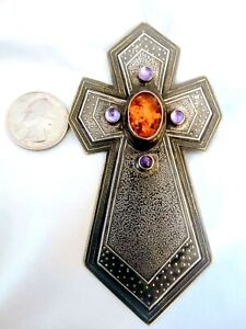Powerful Tabra lrg silver bronze pendant brooch cross/crucifix amber & amethyst