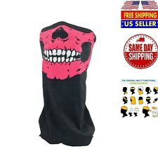 Skeleton Ghost Skull Face Mask Biker Balaclava Costume Halloween Cosplay PINK