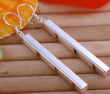 Elegant Silver Long Rectangular Drop Earrings, 925 stamped, from UK seller