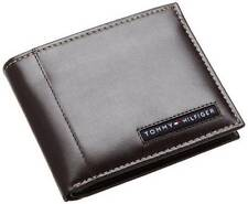 NEW TOMMY HILFIGER PASSCASE CREDIT CARD BILLFOLD ID MEN'S BROWN LEATHER WALLET