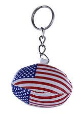 PORTACHIAVI pelle porta chiavi auto pallone rugby bandiera USA AMERICA maglia
