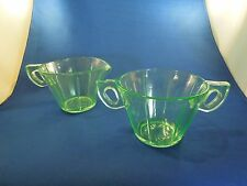 Antique Depression Vaseline Uranium Glass Green Creamer and Sugar Bowl