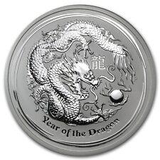 2012 5 oz Silver Australian Perth Mint Lunar Year of the Dragon Coin -SKU #63852