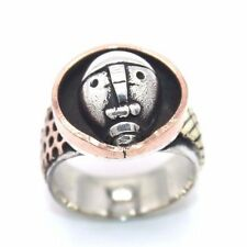 RARE Vtg Modernist PETER MACCHIARINI Sterling Silver MIXED METAL Mask Ring Sz 10