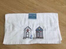 Beach Hut Embroidered Cotton Hand Towel, White/Multi 50 X 85 Cm