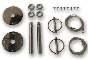 NEW! 1965 - 1973 Ford Mustang Deluxe Stainless Steel Hood Pin Kit Shelby GT