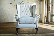 Wing Chair From Handmade White Leather