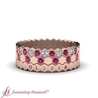 Stackable Wedding Bands With Round Diamond And Pink Sapphire Gemstone 0.35 Ctw