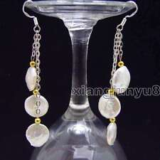 12-13mm Coin Round Natural Freshwater White Pearl Earring Women Dangle Earring