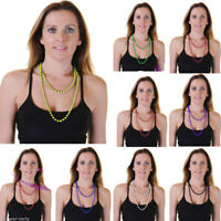 """NEW LADIES NEON COLOURS 48"""" LONG PLASTIC BEADS NECKLACE FOR FANCY DRESS"""