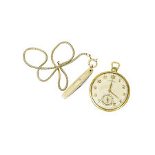 Antique Hamilton 14K Yellow Gold Open Face Pocket Watch Gold Filled Chain/ Knife