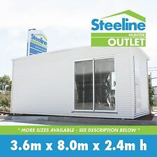 Brand New Colorbond Kit Shed / Granny Flat - 3.6m x 8.0m