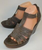Trask Wos Shoes Anthro Wedge Sandals US 10 M Brown Leather Ankle Strap Heel 5602