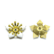 10pcs Brass Enamel More-Petal Bead Caps Mini Flower Spacer Crafting 16.5x17.5mm