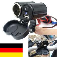 Motorrad Wasserdicht Zigarettenanzünder USB Buchse Steckdose Lenker 12V-24V Neu