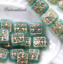 Rectangle Beads, Opal Green Aqua w/Copper Finish, 12x11mm, Czech Beads, 6 Pcs