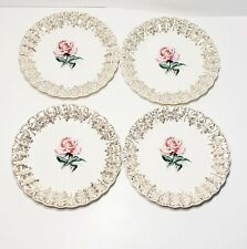 "Set Of 4 American Limoges Le Fleur Rouge 6.5"" Bread Butter Plates Rose 22k Gold"