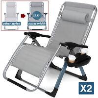"Super Width 23"" 2PCS Zero Gravity Folding Lounge Beach Chairs 400LBS Capacity"