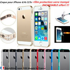 bumper coque etui aluminium metal iphone 4/5/S + protection écran verre trempé