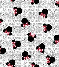 Disney Minnie Mouse Cotton Fabric Minnie Heads with Bows Half Yard Width 43""