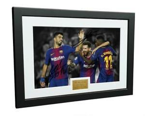 Signed Messi Suarez Dembele Barcelona Photo Photograph Autograph Picture Frame