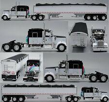 """DCP BLACK WHITE KW W900 72"""" AERO CAB 50"""" SIDE 3-AXLE GRAIN TRAILER 1/64 60-0614"""