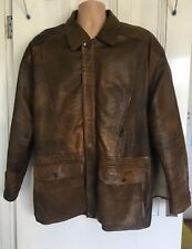 Mens Lambs Leather Coat Jacket Tan Brown Large