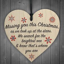 Missing You This Christmas Stars Wooden Hanging Heart Plaque Xmas Tree Decor